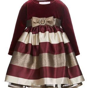 NEW Bonnie Baby Velvet Fancy Girls Dress 12 months